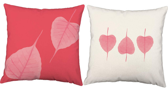 Decorative Pillow Trio : Pink Leaf Trio Throw Pillows - Decorative Pillows - by RoomCraft