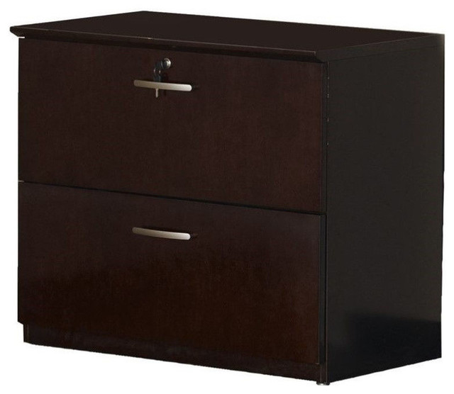 Mayline Napoli 2-Drawer Lateral Wood File Storage Cabinet, Mahogany.