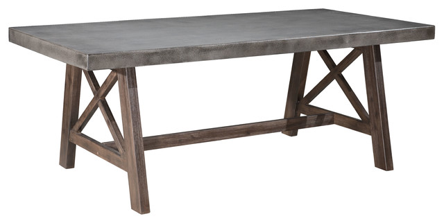 Ford Dining Table, Cement & Natural - Ford Dining Table, Cement & Natural - Industrial - Outdoor Dining