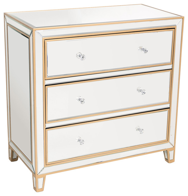 Mirrored cabinet hall chest with drawers contemporary