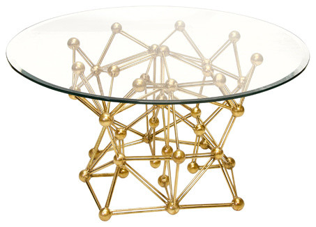Worlds Away Molecule Round Coffee Table Base Only, Gold Leaf Contemporary  Table Tops