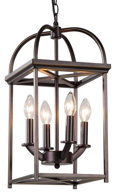 Piedmont 4-Light Lantern Chandelier, Bronze-Gold