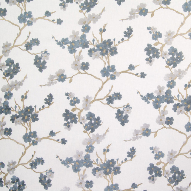 Hydrangea Blue Floral Embroidery Upholstery Fabric