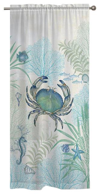 Laural Home Blue Crab Sheer Window Curtain