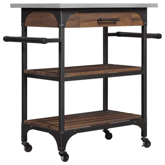 Caraway Kitchen Cart With Stainless Steel Top, Saw Cut Espresso Industrial  Kitchen Islands