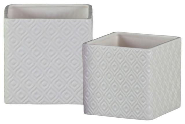 Square Shaped Ceramic Pot with Embossed Diamond Design, White, Set of 2
