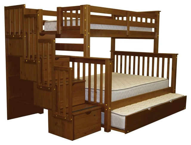 Bedz King Bunk Beds Twin Over Full Stairway 4 Drawers Trundle Espresso