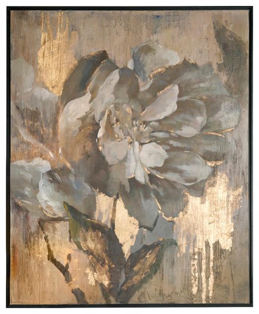 "Dazzling 51"" Floral Decorative Wall Art Black Satin/gold Leaf."