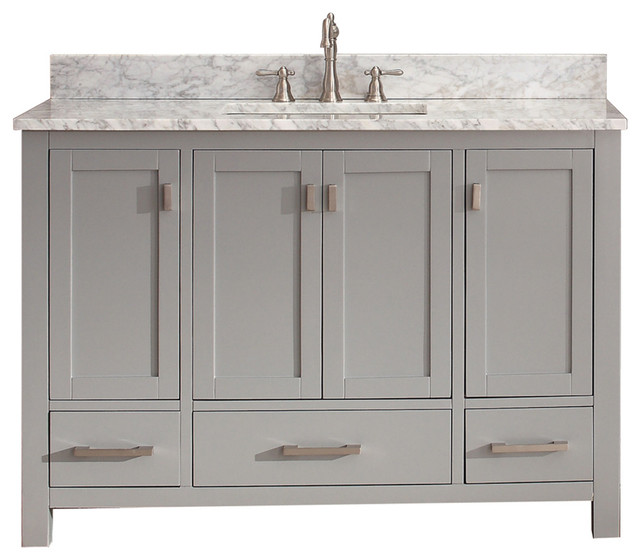 "Avanity Modero 49"" Vanity In Chilled Gray Finish, Carrera White Marble Top."