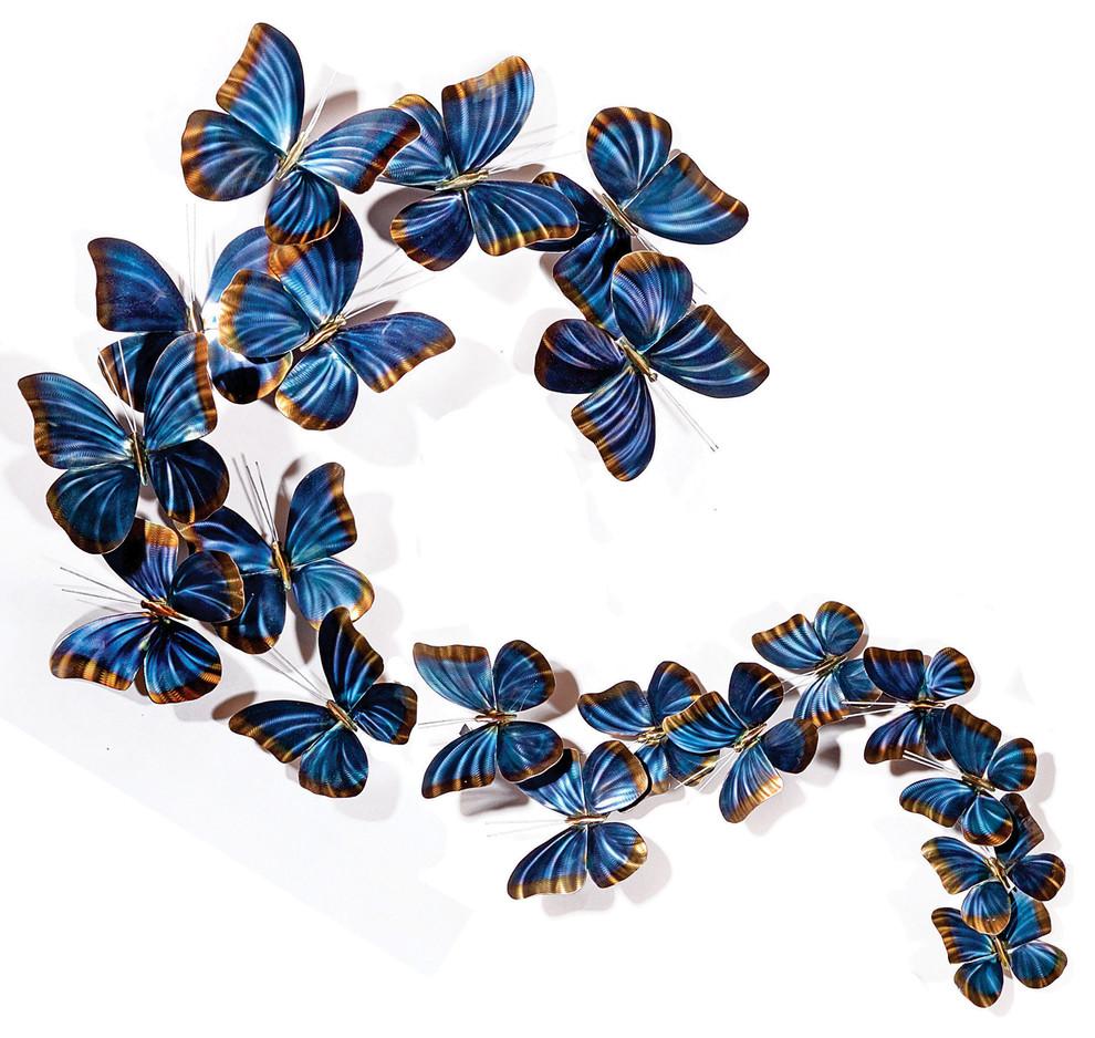 Modern Farmhouse Home Decor Blue Morpho S Flight Contemporary Butterfly Art Contemporary Metal Wall Art By Copper Art