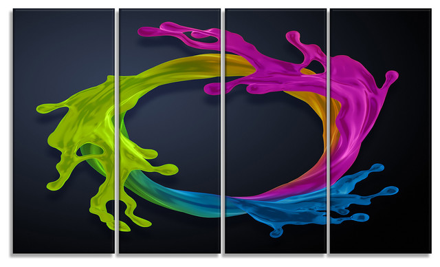 "Colorful Splash Round, Abstract Canvas Art Print, 48""x28"