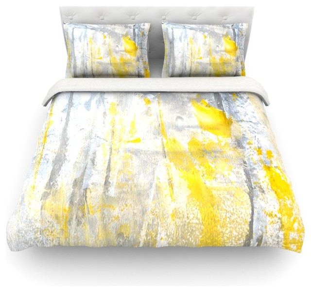 Carollynn Tice Abstraction Gray Yellow Cotton Duvet Cover Twin 68 X88