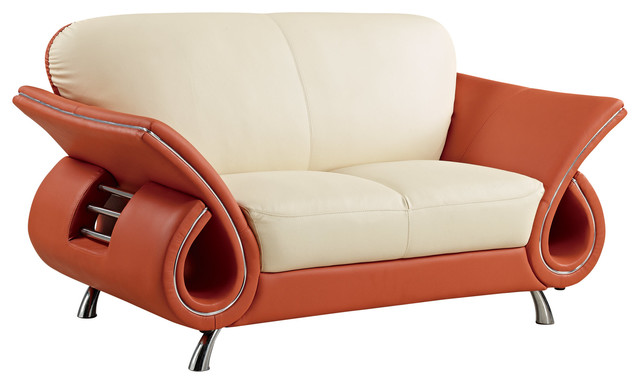 Leather Match Love Seat, Cappuccino, Chrome Legs, Mahogany Arms