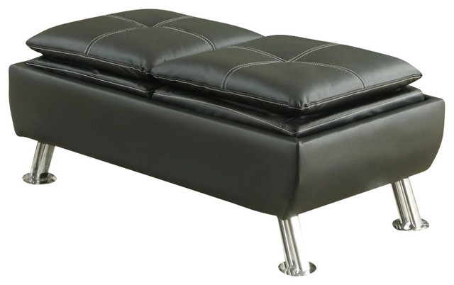 Coaster Faux Leather Storage Ottoman in Black footstools-and-ottomans - Coaster Fine Furniture Coaster Faux Leather Storage Ottoman In