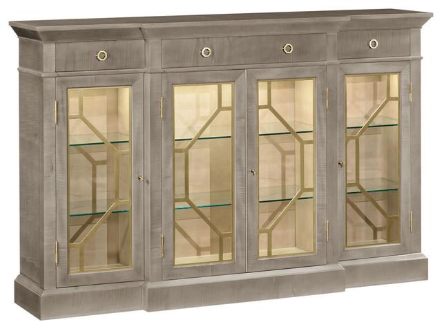 Jonathan Charles Opera 4-Door Breakfront Display Cabinet - Transitional - China Cabinets And ...