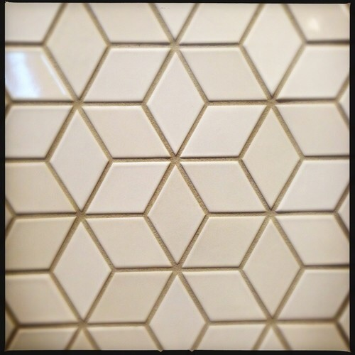 Cream/white diamond backsplash tile?