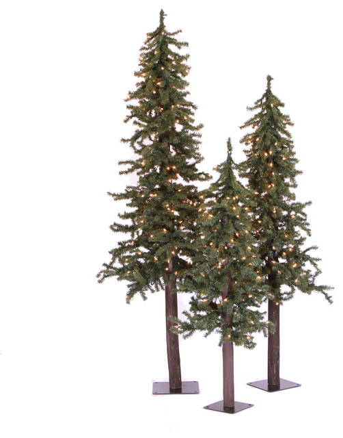Natural Alpine Fake Trees 3-Piece Set, 4', 5', and 6' Trees, Multicolor Lights