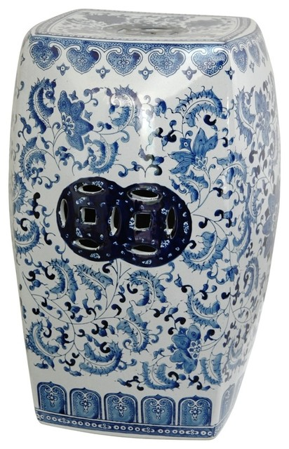 18.5  High Blue and White Floral Square Porcelain Garden Stool asian-accent-and  sc 1 st  Houzz & 18.5
