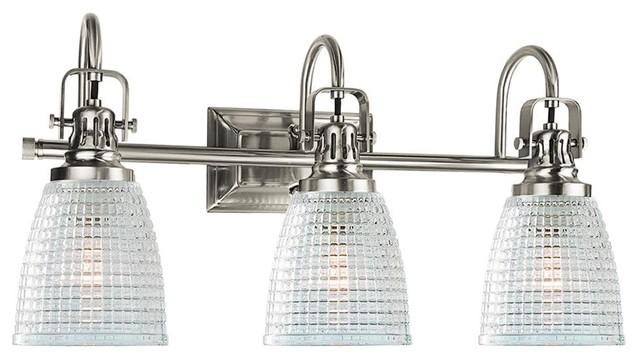Oakley 3-Light Bathroom Vanity Fixture Beehive Glass