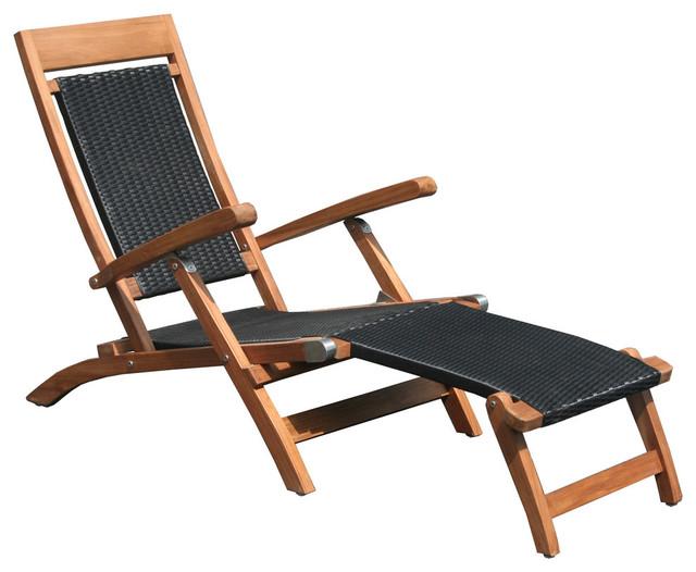 Swell Teak Wood Narmada Outdoor Steamer Chair With Black Webbing Black Theyellowbook Wood Chair Design Ideas Theyellowbookinfo
