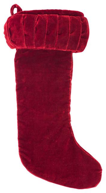 Red Velvet Christmas Stockings.8x19 Plush Red Velvet Stocking