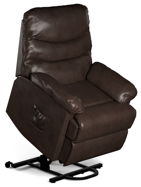 Giorgio Leather Power Lift And Reclining Chair, Brown.