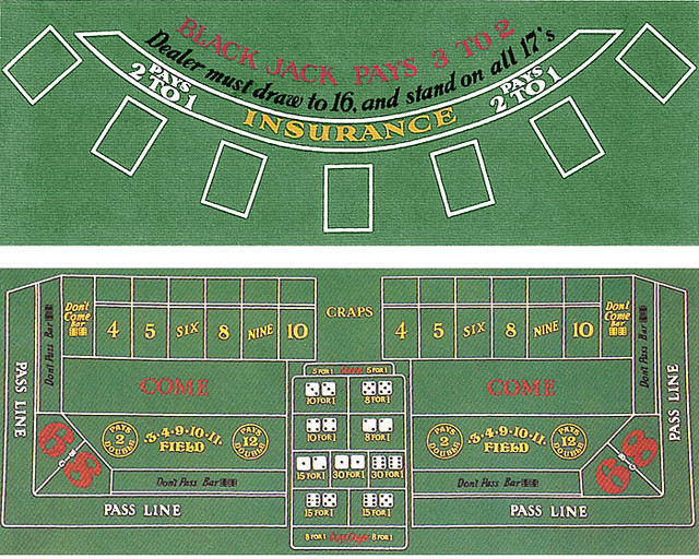 Blackjack And Craps Two Sided Layout 72 Quot X 36 Quot By