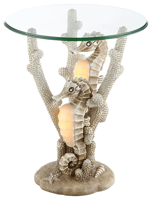 Seahaven Seahorse Night Light Accent Table Ivory