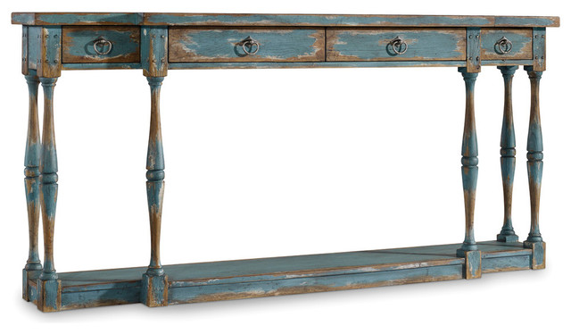 Clemence Console Table, Distressed Blue