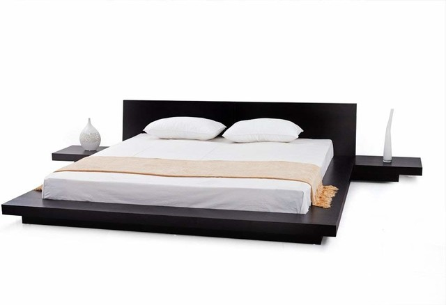 official photos 6d630 5dacc Modern Bed Frame, Wood, 2 Night Stands, Queen Size Bed, Espresso Finish