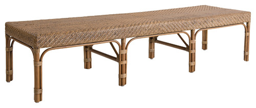 Londyn French Country Brown Rattan Bench