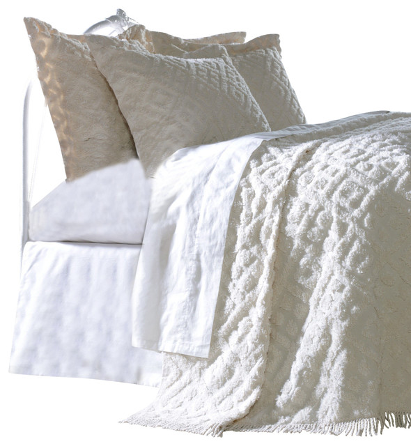 Diamond Tufted Chenille Bedspread and Pillow Sham Set, White, Twin  traditional-quilts-