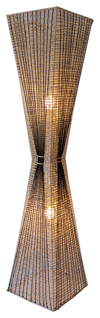 Handmade Hourglass Shade Rattan Floor Lamp