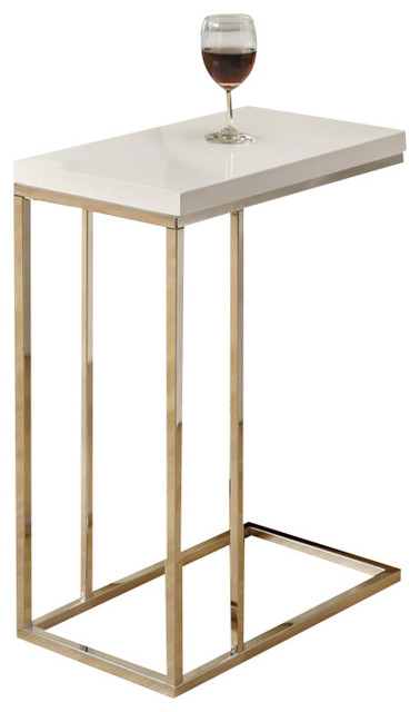 Monarch Hollow, Core Accent Table In Glossy White And Chrome