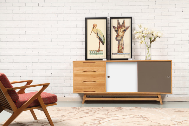 Svend Sideboard - Solid Oak - 180x45x80cm - White/Grey Doors