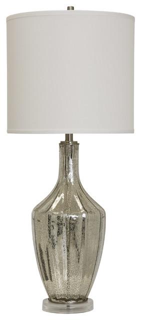 Northbay Table Lamp, Mercury Glass Finish, White Hardback Fabric Shade.