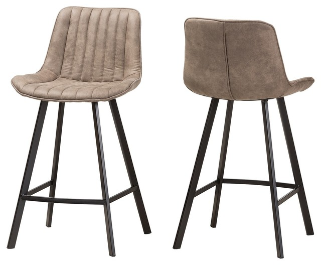 Magnificent Leighton Light Brown Fabric Upholstered Counter Stools Set Of 2 Lamtechconsult Wood Chair Design Ideas Lamtechconsultcom