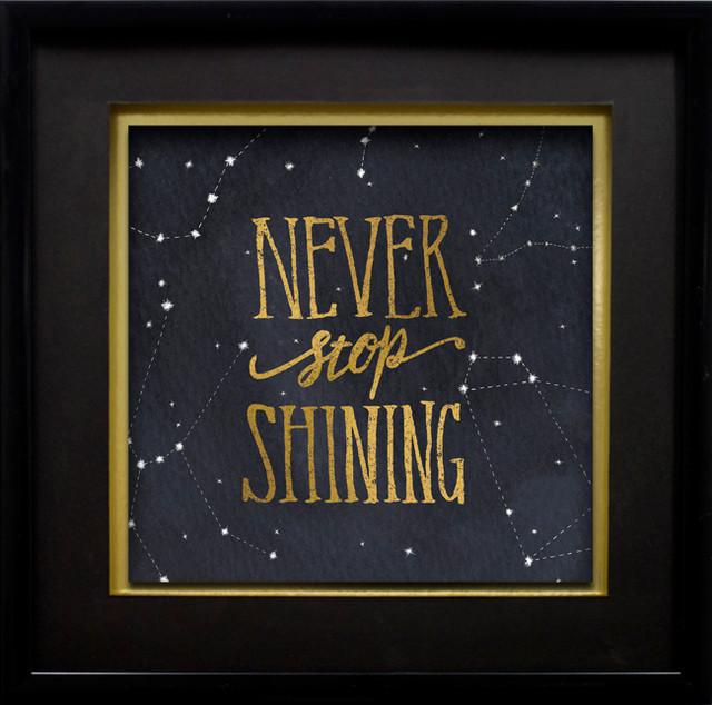 Starry Words Iii V 3 Gold Foil On Black Paper 17 X17