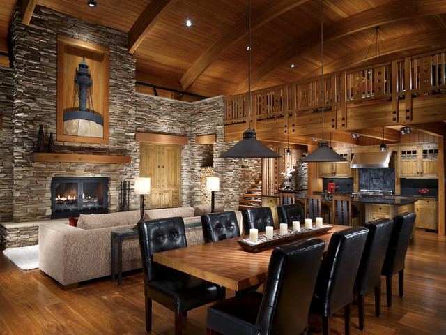 Modern Cabin Stone Accent Wall And Wood Ceiling Rustic Dining Room
