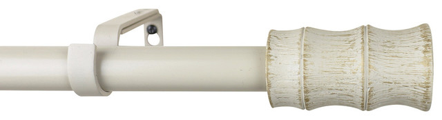 Urbanest 1 Diameter Bamboo Curtain Rod, 48-84, Gilded French White.
