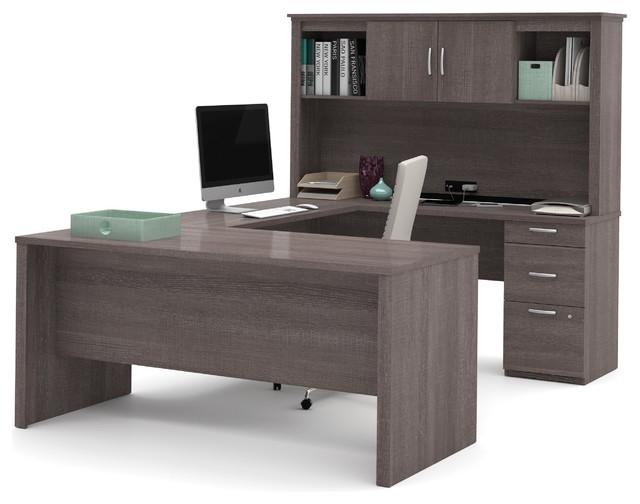 Charmant Bark Gray Premium Modern U Shaped Desk, Hutch