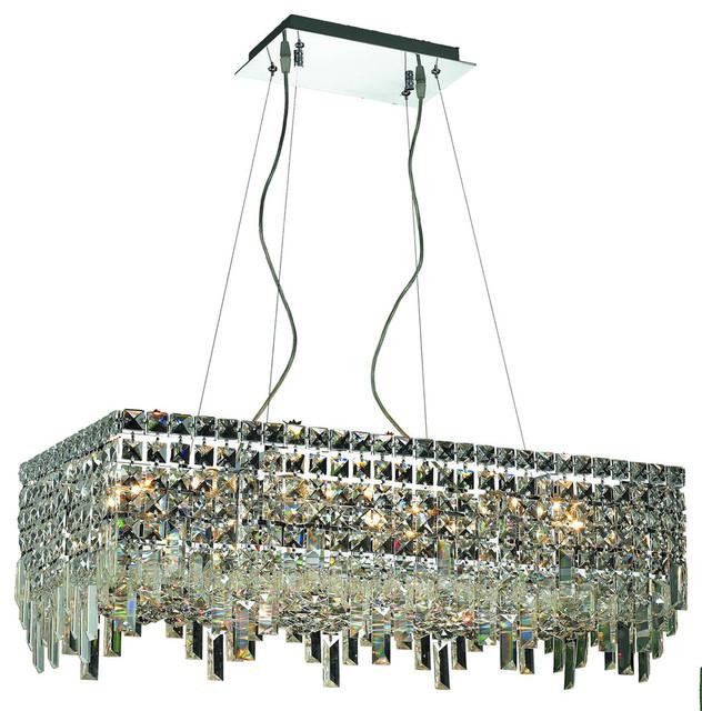 Elegant Maxim Dining Room Light Chrome, Hybris 8 Light Crystal Chandelier