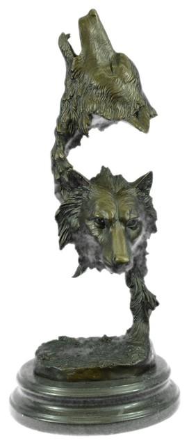 Hand Made Sculpture Bronze Statue Animal Extra Large Bugatti Howling Wolf Figure