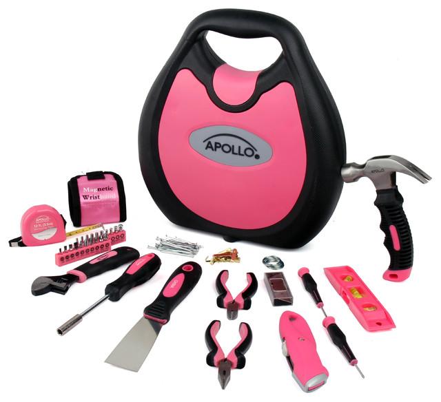 Apollo Tools 72 Piece Household Tool Kit, Pink.
