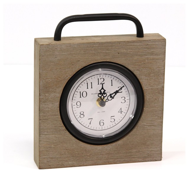 Stratton Home Decor Dominick Wood and Metal White Table Clock Small