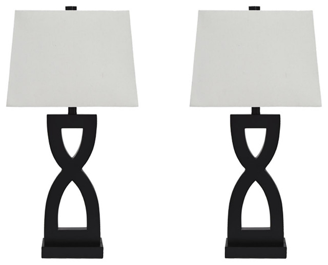 Ashley Amasai, Set of 2 Poly Table Lamp, Black Finish