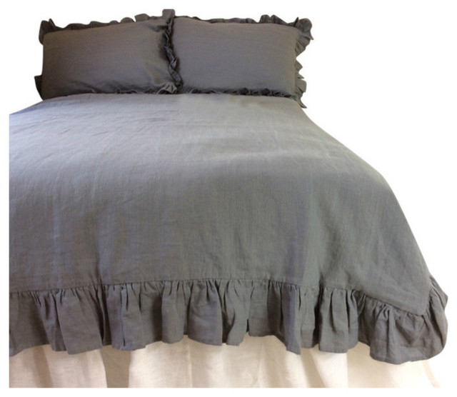 Ruffle Gray Linen Bedding Duvet Covers And Duvet Sets By