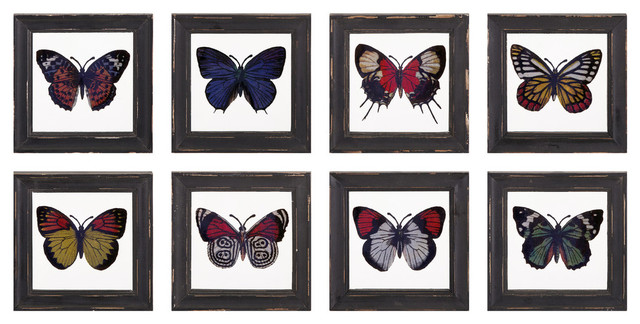 Arty Butterfly Framed Glass Wall Decor, 8-Piece Set.