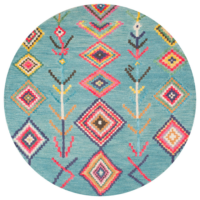 Hand-Tufted Bohemian Moroccan Diamond Rug, Turquoise, 6&x27; Round.