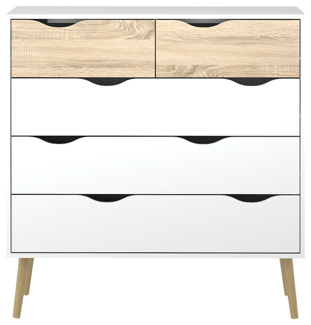 Tvilum Diana 5 Drawer Chest White And Oak Scandinavian Dressers